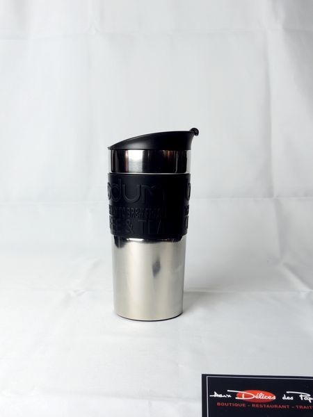 mug inox noir isotherme bodum 35cl - aux délices des papilles