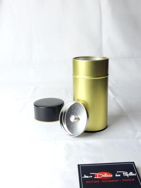 Boite à thé métal Canon or et noir 150g