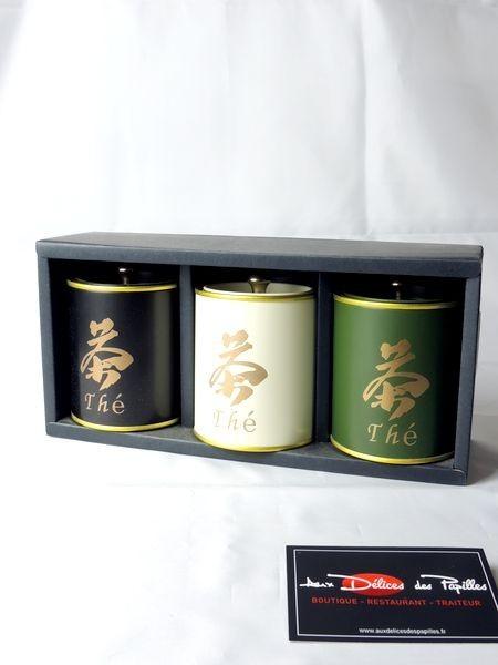 Coffret 3 boites à thé métal Kanji 100g