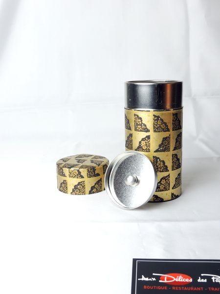 Boite à thé métal noir et doré 150g