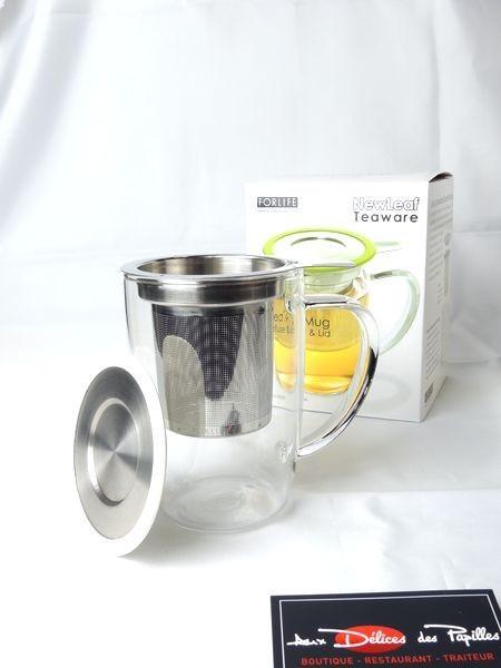 Mug infuseur verre et inox Teaware blanc 473ml