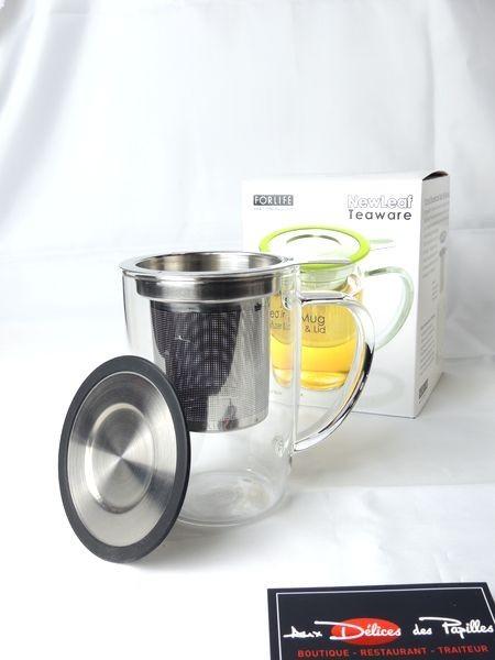 Mug infuseur verre et inox Teaware noir 473ml