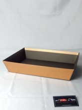 Corbeille rectanglulaire carton relief losanges 2 couleurs bronze/marron