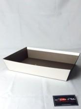 Corbeille rectanglulaire carton relief losanges 2 couleurs argent/marron