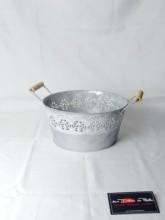 Corbeille ronde zinc et dentelle